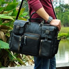 "Men Real Leather Antique Large Capacity Travel Briefcase Business 15.6"" Laptop Case Attache Messenger Bag Portfolio 3061-b  Price: 85.68 & FREE Shipping  #hashtag1"