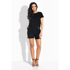 Salopeta de dama cu pantaloni scurti si buzunare laterale neagra Bermuda Shorts, Rompers, Dresses, Women, Fashion, Colors, Vestidos, Moda, Fashion Styles