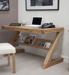 Z Oak Designer Desk with Drawer and Shelf
