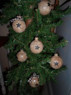 Primitive Decor Tree Bulbs Ornies Crackled You Get 6 Unique Country | eBay