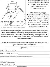 Pocahontas and other famous people worksheets