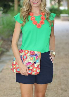 Summer Style- J Crew Factory shorts and Green Shirt, Colorful Big Buddah Clutch from Nordstrom, J Crew Necaklace, White Essie Nail polish, Nars Lipstick in Natalie