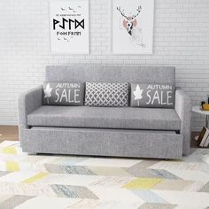 Sofa Bed Design, Living Room Sofa Design, Bedroom Closet Design, Home Room Design, Living Room Bed, Grey Sofa Design, Bedroom Decor, Dining Room, Space Saving Furniture