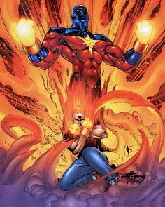 Captain Marvel Vol. 5 # 0 by Chris Cross & Wayne Faucher Comic Book Characters, Marvel Characters, Comic Books, Bucky, Red Hulk, Star Force, Comic Reviews, Incredible Hulk, Comic Book Covers
