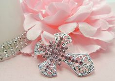 Easter Cross Pretty Pink Rhinestone Cross Flat by TheButtonSisters