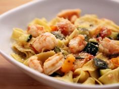 Tagliatelle with Shrimp, Zucchini and Cherry Tomatoes recipe from Anne Burrell via Food Network