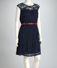 Take a look at this Just For Wraps Navy Lace Plus-Size Belted Dress by Just For Wraps on #zulily today!