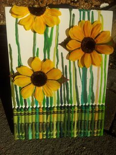 Melted Crayon Art - Sunflower. $35.00, via Etsy.