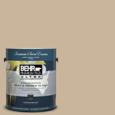 Living Room, Family Room, Bonus Room, Halls, Laundry Room, Powder Room  $33.98 BEHR Premium Plus Ultra 1-Gal. #UL140-10 Mushroom Bisque Interior Satin Enamel Paint