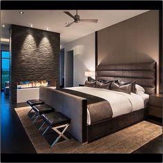 Inspiração! #quarto #lareira #cinza