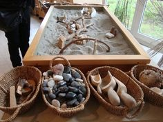sand, scoops and loose parts what a great way to explore texture,form,pattern and nature