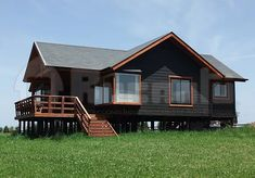 Modern Tiny House, Tiny House Cabin, Cabin Homes, Cottage Homes, Country House Plans, Small House Plans, Rustic Exterior, Exterior Design, Exterior Paint