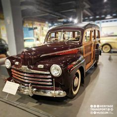 Here's a Ford Woodie Station Wagon of 1946!  With steel in short supply, Ford produced a model with wood side panels, supplied from the Ford Iron Mountain Plant, Michigan.  #HeritageTransportMuseum #TransportMuseum #VintageCars #VintageCollection #IncredibleIndia