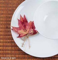 DIY fall leaf placecards