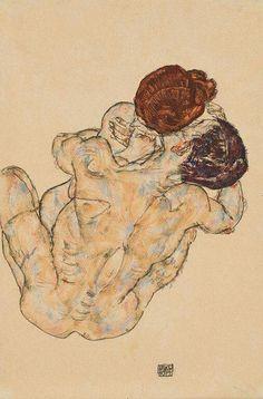 Egon Schiele - Mann und Frau (Umarmung), 1917. Gouache and black crayon on paper, 19¼ x 11 3/8 in. (48.9 x 28.9 cm.).