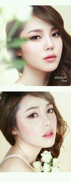 Trendy Make-up koreanische Pony Tagebücher Ideen Asian Makeup Looks, Korean Makeup Look, Korean Makeup Tips, Korean Makeup Tutorials, Korean Beauty, Asian Beauty, Korean Wedding Makeup, Wedding Hair And Makeup, Hair Wedding