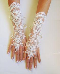 Long Ivory Wedding gloves bridal gloves lace gloves fingerless gloves ivory…