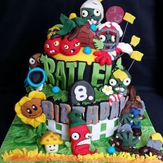 plants vs zombies cake - Buscar con Google Zombie Birthday Cakes, Zombie Birthday Parties, Zombie Party, Birthday Bash, Plantas Versus Zombies, Plant Zombie, Crazy Cakes, Cookie Designs, Lego