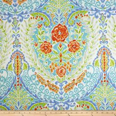 Sundara Oasis Pavana Blue from @fabricdotcom  Designed by Dena Designs for Free Spirit, this cotton print fabric is perfect for quilting, apparel and home decor accents. Colors include beige, white, lime green, orange, red, teal and periwinkle blue.
