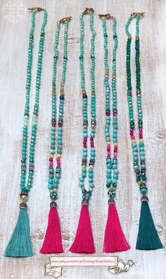 Bohemian Silk Tassel Necklace, Colourful Tassel Necklace, Turquoise Boho Chic Necklace, Turquoise - Hot Pink by VintageRoseGallery Pink Agate, Turquoise Gemstone, Boho Necklace, Necklaces, Etsy Jewelry, Boho Jewelry, Jewellery, Crystal Beads, Tassels