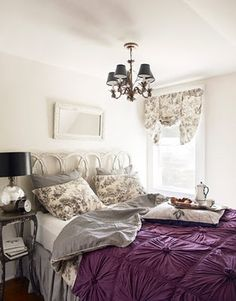 loves purple and silver for the master bedroom.