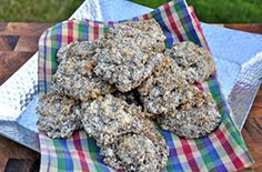 *Fluffy Egg White Biscuits*  -- Here's a great recipe for low carb biscuits. It uses flax meal and egg whites to create a soft, fluffy texture. When striving towards a fat loss goal it's important to limit the amount of bread that you eat, due to all the simple carbs. This recipe is a great way to enjoy some bread while still maintaining your clean diet. Servings: 20
