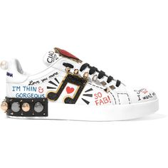 Dolce & Gabbana Embellished printed leather sneakers (23,095 MXN) ❤ liked on Polyvore featuring shoes, sneakers, footwear, black and white shoes, black shoes, black white shoes, black cat shoes and black sneakers