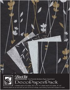 Meadow Flowers Black - This striking new paper pack assortment includes our meadow flowers printed unryu, metallic silver mulberry paper, willow printed unryu, whi...