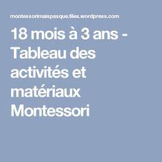 18 mois à 3 ans - Tableau des activités et matériaux Montessori