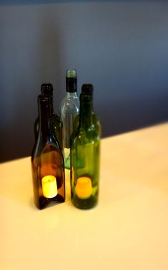 Wine Bottle Hurricane Lamp Flameless Candle Lantern with Magnetic System
