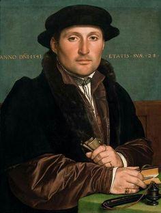 Hans Holbein the Younger(1497/1498–1543) Bildnis eines jungen Kaufmannes Portrait of a young merchantDate1541MediumoilonpanelDimensions  Deutsch:oben und unten angestückt: 46.5 × 34.8 cm (18.3 × 13.7 in)  Current location  Kunsthistorisches Museum