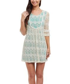 This Beige & Turquoise Lace Three-Quarter Sleeve Dress - Women is perfect! #zulilyfinds