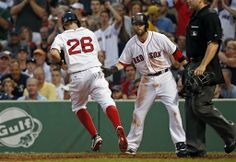 BOSTON - JUNE Brock Holt is congratulated by teammate Dustin Pedroia as he scores on a sacrifice by Xander Bogaerts in the inning against Minnesota. Dustin Pedroia, Boston Strong, Boston Red Sox, Scores, Minnesota, Twins, June, Star, Vintage