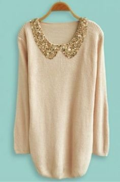 Beige Lapel Long Sleeve Sequined Pullovers Sweater