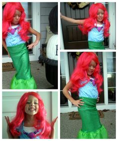 Kids Mermaid Costume DIY - how to make a mermaid costume using an old dress up dress and a little extra fabric.