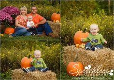 Styled Fall Family Session, 9 month old little boy with tractor shirt, field of yellow flowers, mums, pumpkins, hay bales