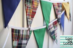 Madras Patchwork Party Bunting, Garland, Banner in navy blue, red, yellow, green $25