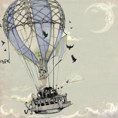 Hot Air Balloon Steamship print on Etsy from thefiligree $10.00