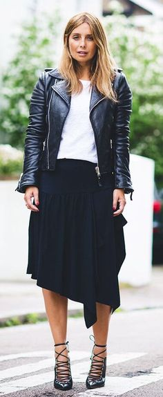 #winter #outfits black leather full-zip jacket with skirt