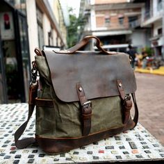 56c3dd7710 Handmade Waxed Canvas Messenger Bag Mens Canvas Leather Briefcase Cross  Body Bag Courier Bag Canvas