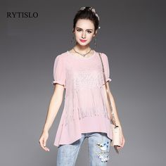 RYTISLO Casual Women Summer Blouse 2017 New Design Sexy Tassel Lace Tops O-neck Shorts Daily Female Large Size Clothing #Affiliate