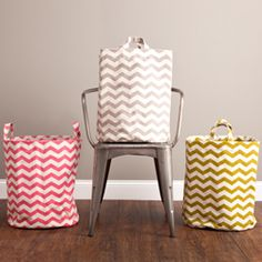 Tall Canvas Bin-Chevron