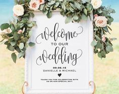 This beautiful, black and white framed wedding sign is simple and elegant for your wedding!
