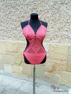 Swimwear Crochet, Crochet Swimsuit, Coral Swimsuit, Crochet Monokini Bikini Summer Pool Party - Crochet creation by etelina
