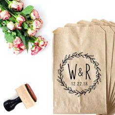 Excited to share the latest addition to my #etsy shop: Wedding Monogram Stamp - http://etsy.me/2ALa76r #weddings #bohowedding #weddingstamp #cookiebag #wreath #monogram
