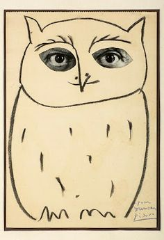 Picasso Owl with collaged eyes.