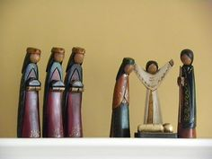 "Nativity scene 8"" tall, hand made"