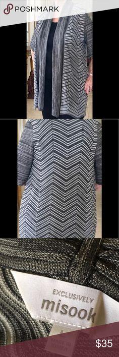 36ab908ef60 Misook LongJacket Chevron Pattern Grays Open Front Exclusively Misook Open  Weave Easy wear long duster Jacket