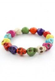 Colorful Skull Bracelet #Chicwish