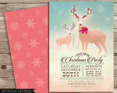 Light Up Reindeer  Illustrative Christmas Party Invitations / Holiday Party Invitation / Winter Holiday Party Ideas by DotteJuju